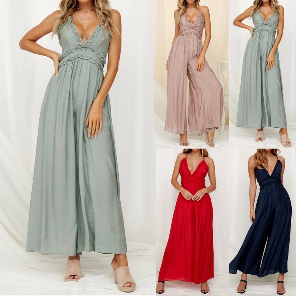 Ruffle Loose Sling Jumpsuit - 4 stunning colors