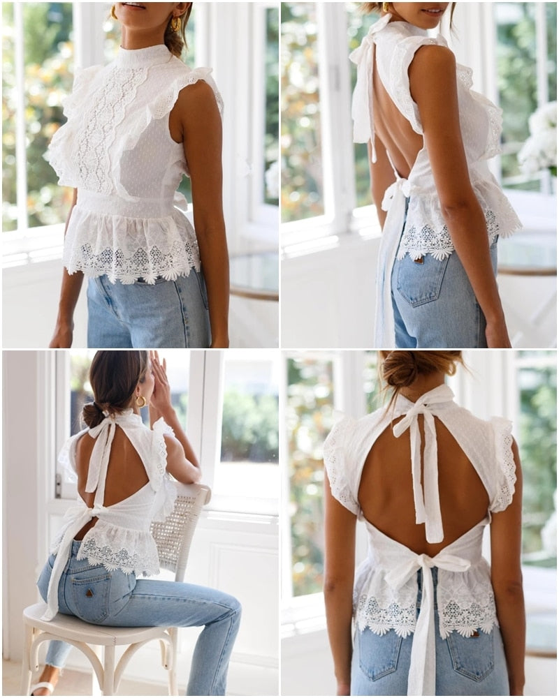 white lace boho top, white boho top, white lace backless top , boho top, white lace backless top