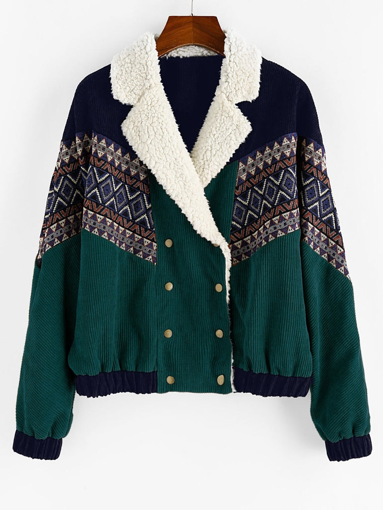 Tribal Print Faux  Corduroy Jacket