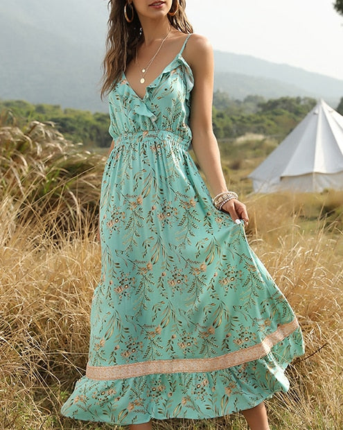 Ruffled Elastic Waist Boho Dress