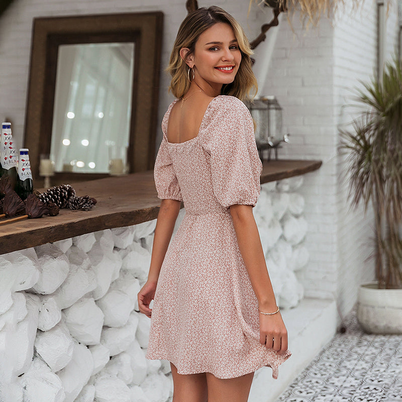 Square Neck Boho Summer Dress