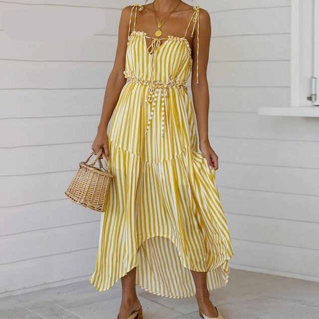 yellow boho dress ,  yellow bohemian dress,  yellow dress , striped yellow hoho summer dress