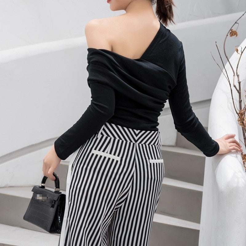 Off Shoulder Asymmetric Top - Black or White