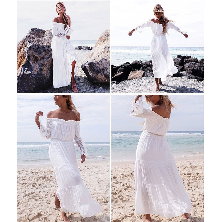 white lace maxi dress, white lace boho dress, white maxi dress ,  white lace boho dress