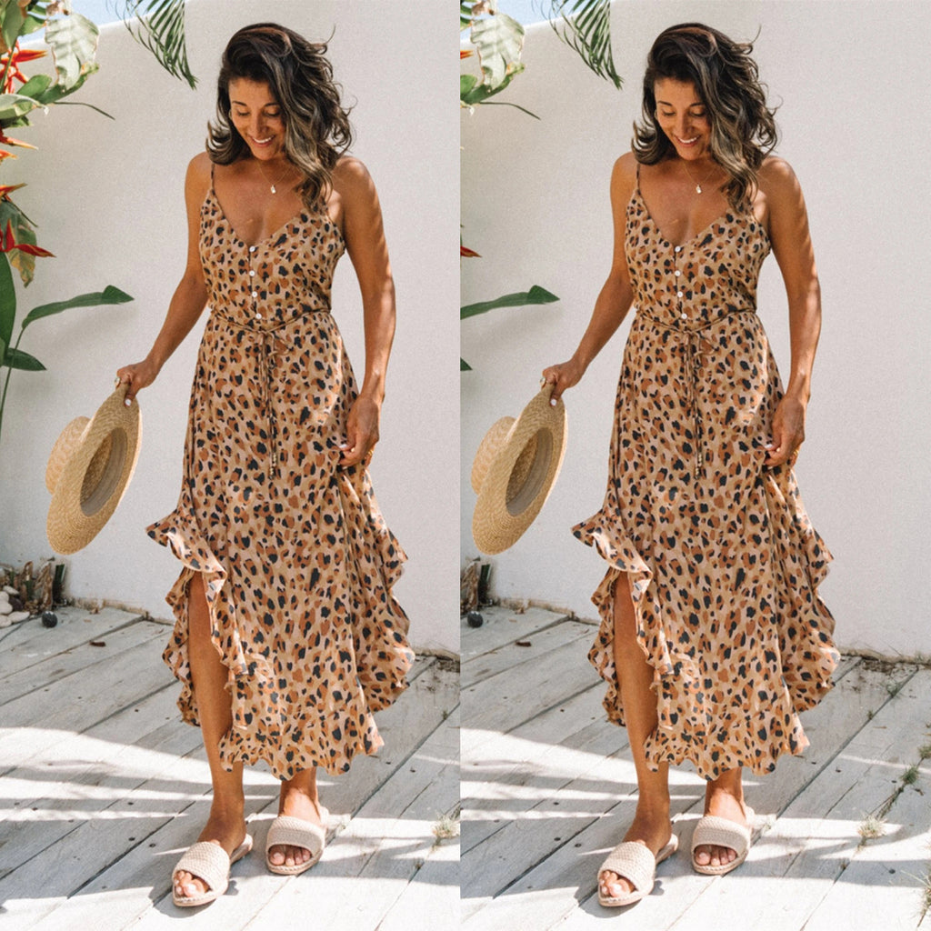 Leopard Print  maxi dress , leeoprad print summer dress , leopard print boho dress
