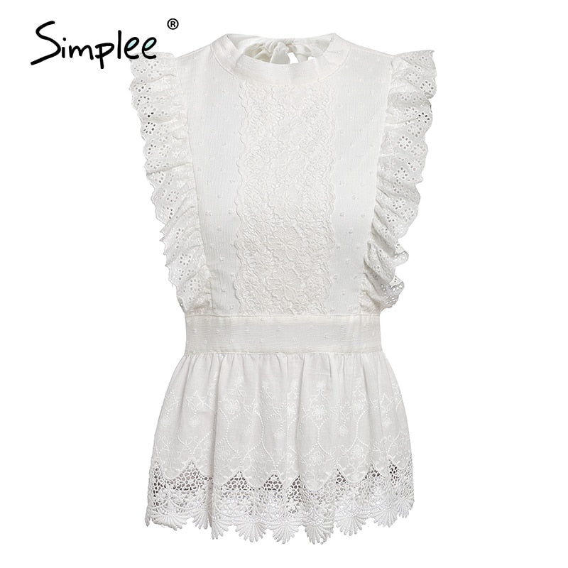 White Backless Lace Ruffled Top