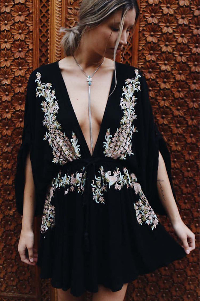black embroidered dress, black dress,  boho dress with embroidery , black boho dress, dress with embroidery