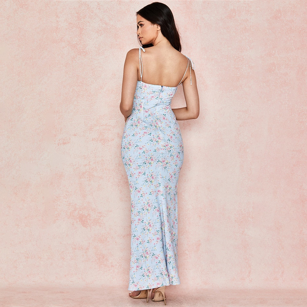 Boho Blue Floral maxi dress. boho sundress, blue shoulder tie up dress, shoulder tie up maxi dress