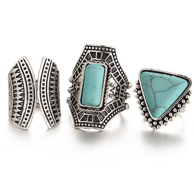 turquoise ring set , bohemian jewellery boho rings
