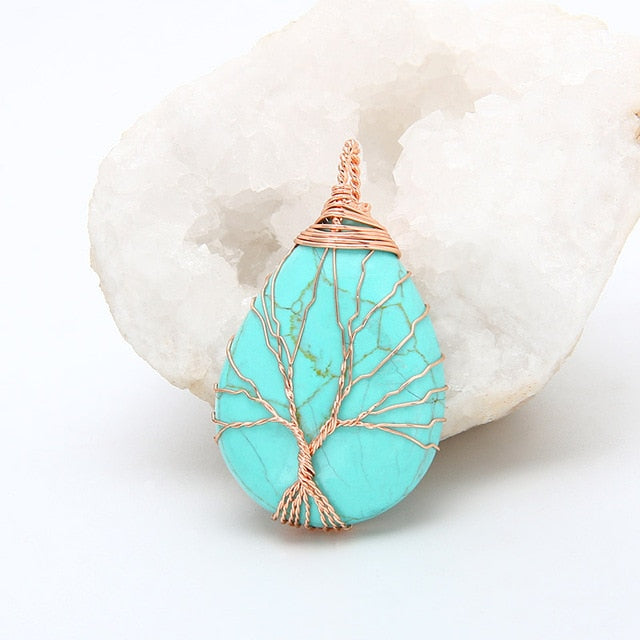Tree of Life Wrapped Pendant necklaces