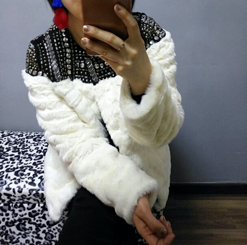 Winter Faux Fur Coat creamy-white hand-made beading rivet Jacket