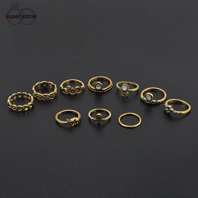 Moon Midi Finger Knuckle Rings -  10 Piece set