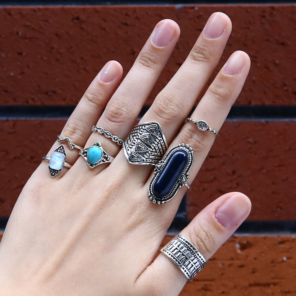 boho jewellery. boho rings. boho ring set. bohemian jewellery