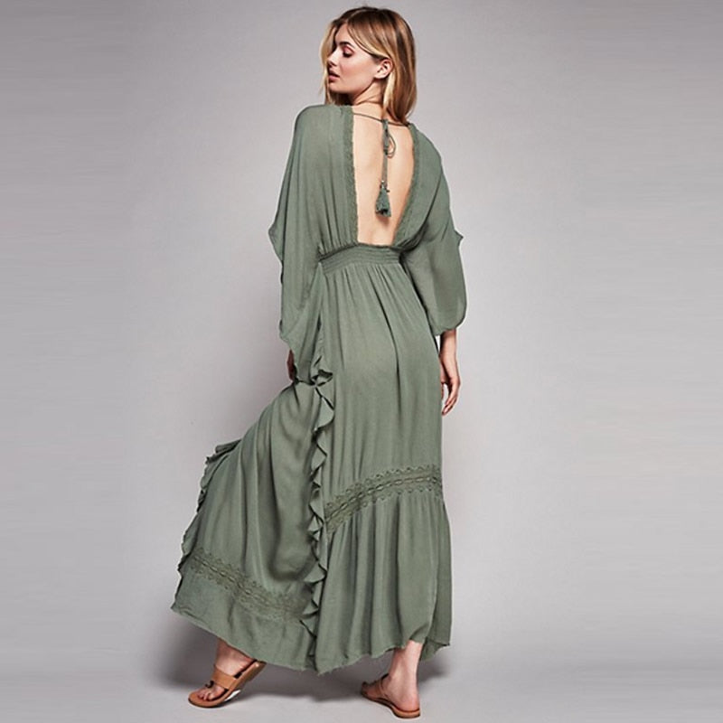 khaki boho maxi dress. khaki dress. khaki green maxi dress. backless khaki maxi dress. boho dress. khaki green boho dress