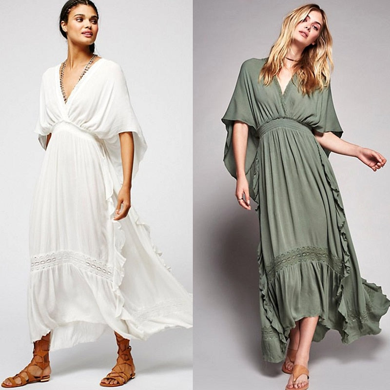 Backless Bohemia Flowing Maxi Dress - Khaki or White