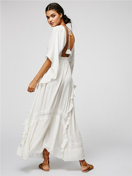 white backless tie maxi dress , batwing white boho maxi dress , white boho dress , boho maxi dress , batwing dress
