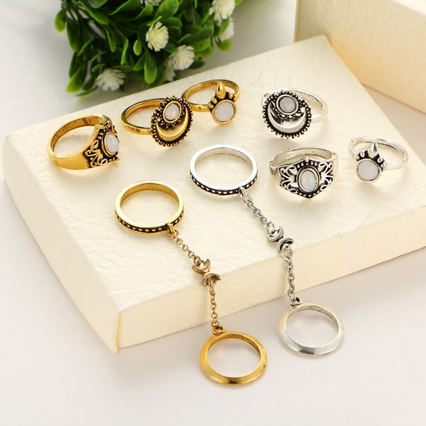 Boho Tibetan Moon And Sun Midi Rings - 5pcs/Set