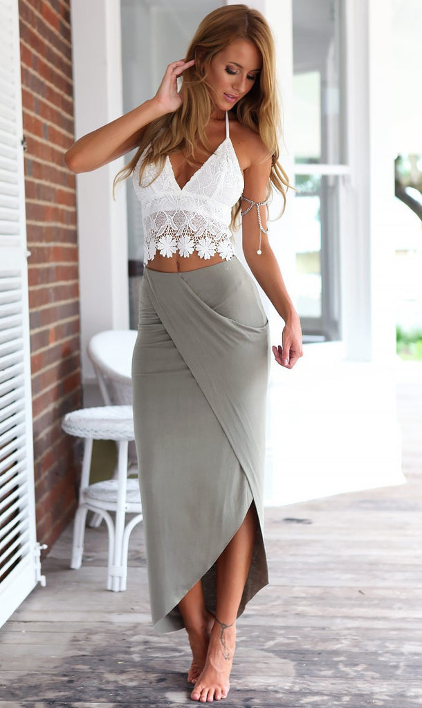 Two Piece - Olive Split skirt and low back crop top