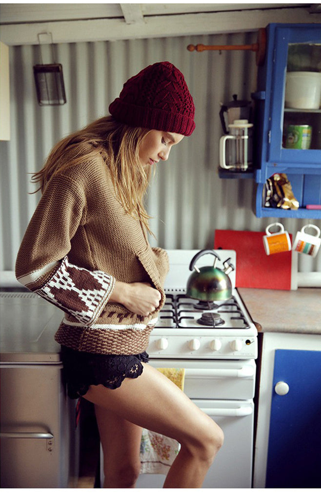 embroidered knitted sweater. boho sweater