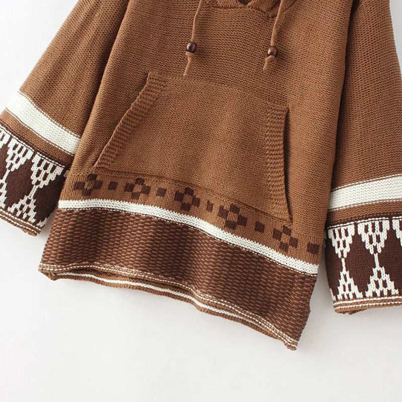 Knitted Embroidered Hooded Sweater