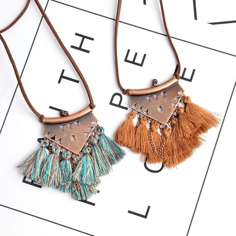 Tribal Tassel Boho Necklace