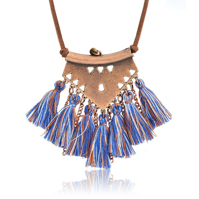 blue Tribal Tassel Boho Necklace