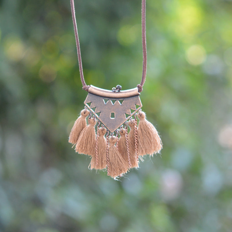 tan Tribal Tassel Boho Necklace
