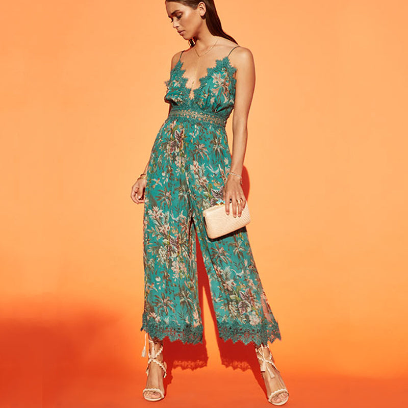 chiffon jumpsuit. boho green floarl playsuit