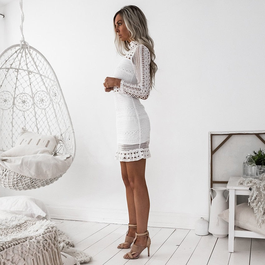 white Long sleeve Cut out Dress, whote long sleeve dress, long sleeve white boho dress, white lace dress
