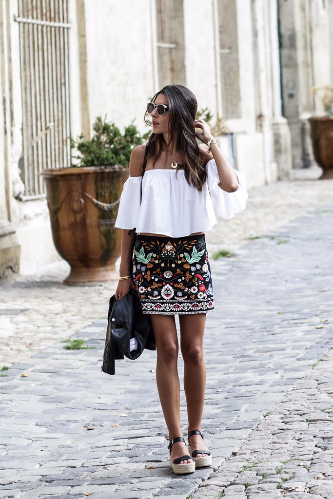 Embroidered Mini Skirt boho