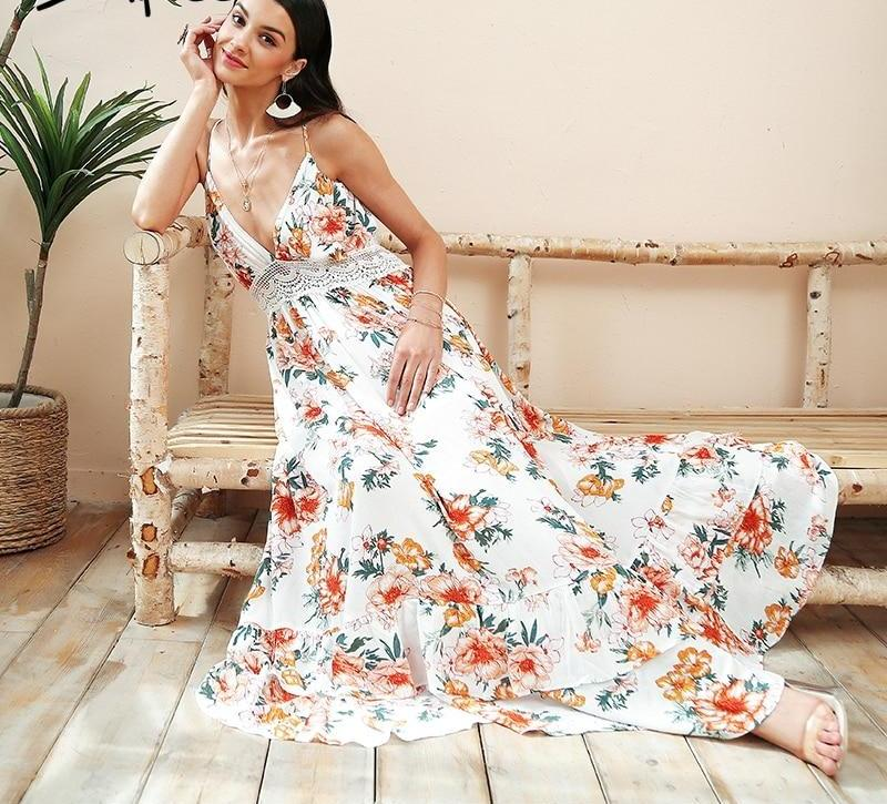 backless white floral maxi dress