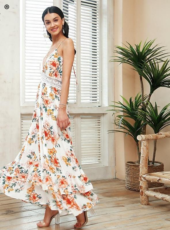 Lace Floral Backless Maxi Dress