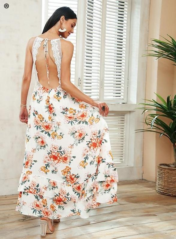 white maxi dress with floral print. White backless floral maxidress