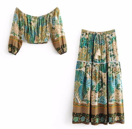 boho skirt and top set