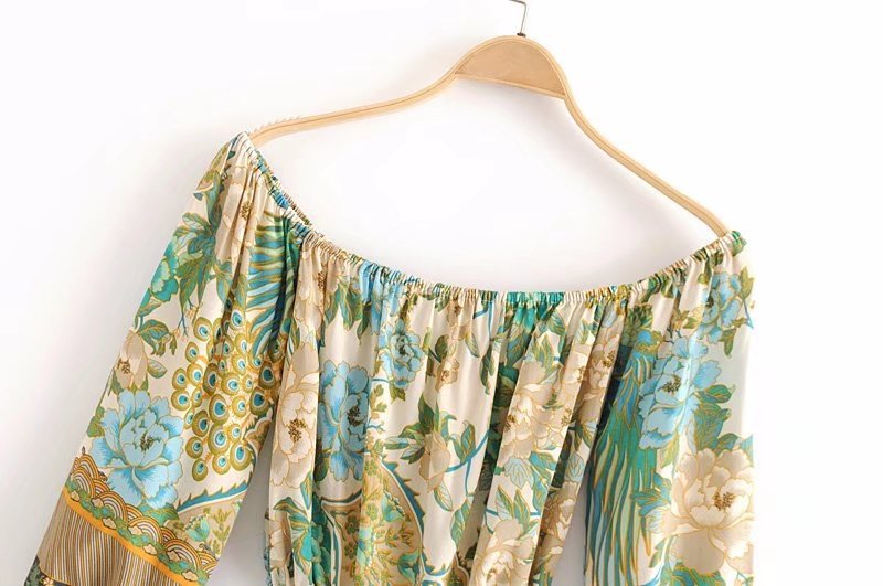 boho print top off shoulder