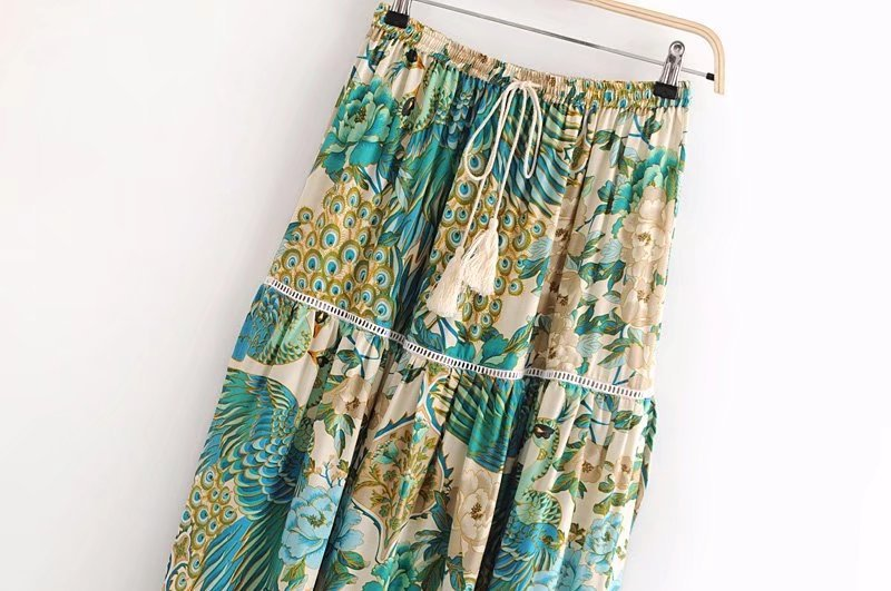 boho maxi skirt with tassels