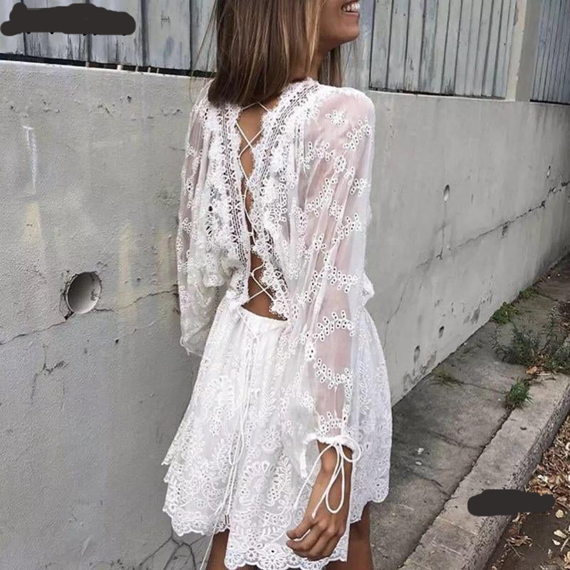 white lace backless dress , white lace boho dress