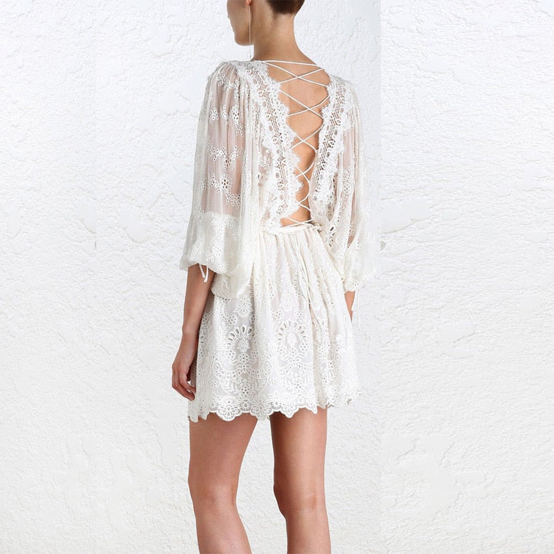 white boho dress , white backless boho dress