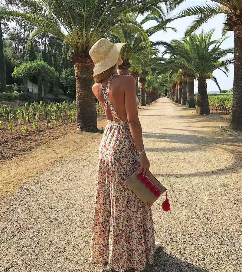 floral backless maxi dress