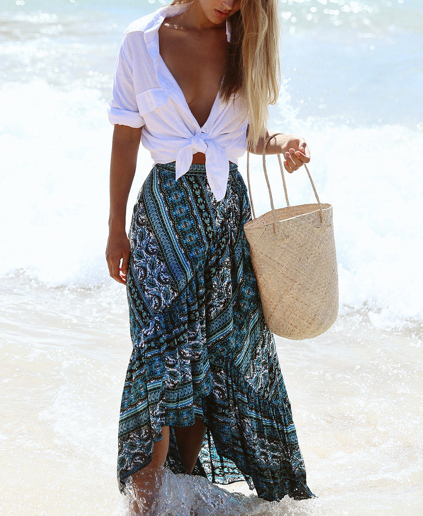 Boho Print Long ruffled maxi skirt