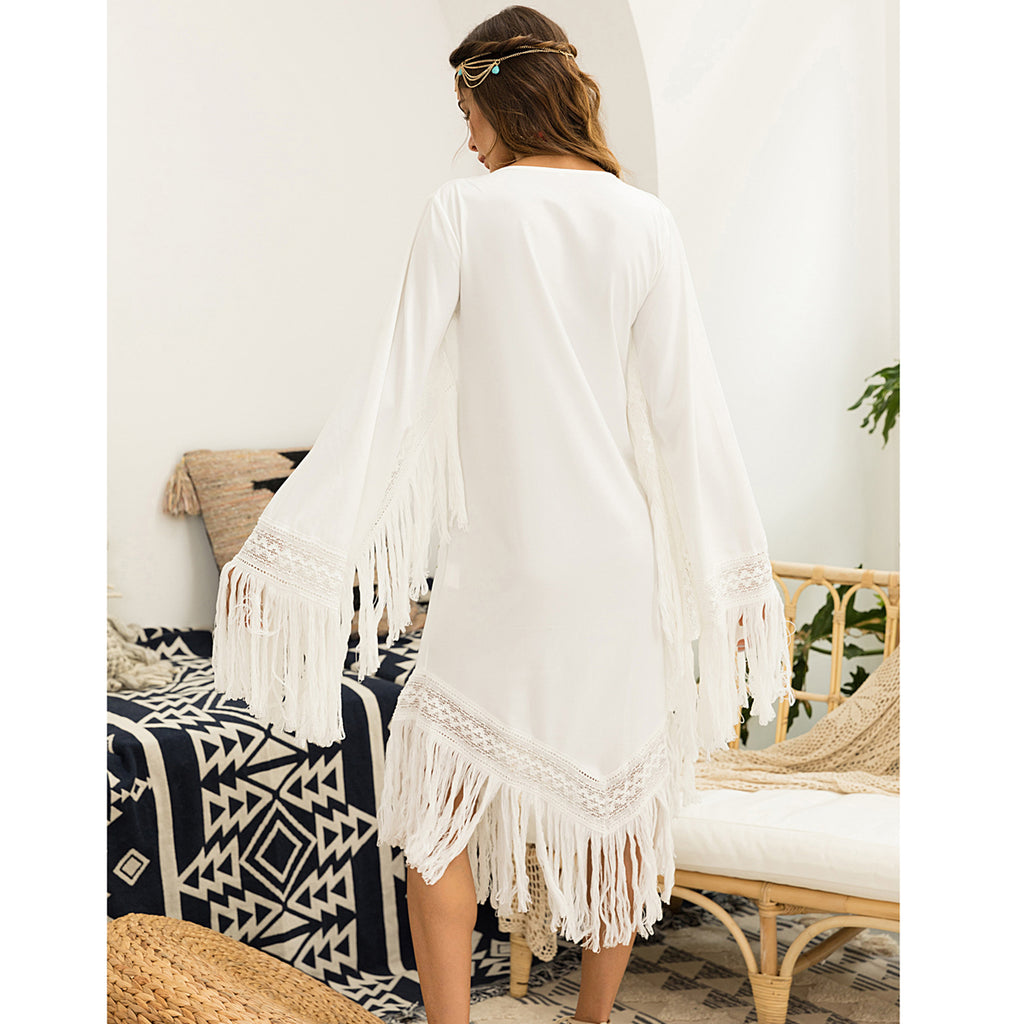 boho Embroidered Tassel Dress / Cardigan