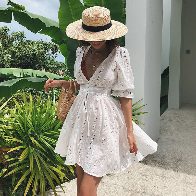 white boho dress, white summer dress, puff sleeve white dress,  puff sleeve dress, boho dress