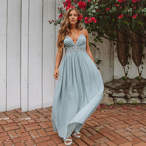 Hollow Out Lace Backless Maxi Dress - Blue