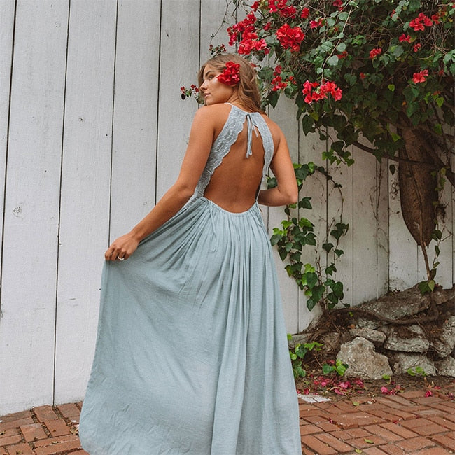 blue boho backless maxi dress , blue lace boho maxi dress, blue lace dress , blue maxi dress , boho blue dress , blue boho lace dress