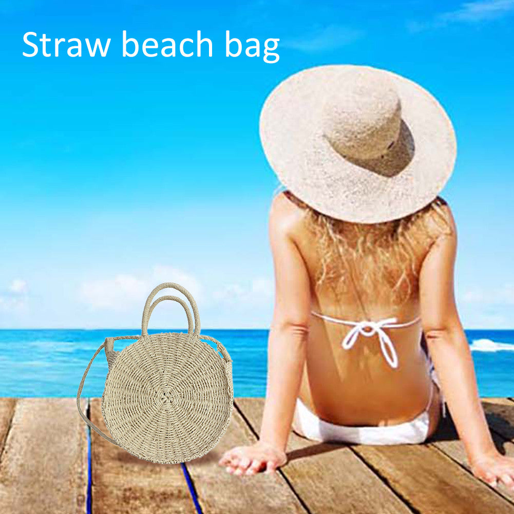 Outdoor Beach Straw Braided Woven Beach Bag