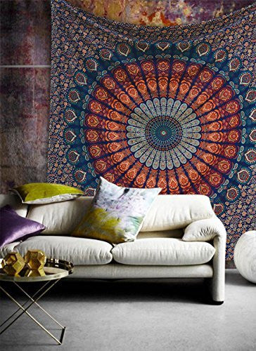 bohemian peacock mandala tapestry, Live by the sun, Love by the Moon beach towel ,  boho beach towel,boho tapestry, manadala tapestry, tapestry, boho decor, boho decor tapestry boho yoga mat , boho beach mat