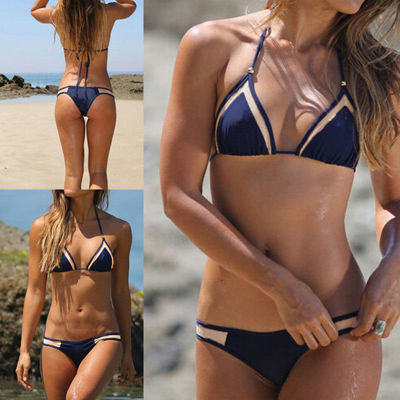 Triangle Bikini Set -Mesh Halter