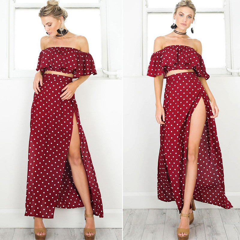 Polka Dot off shoulder Maxi dress