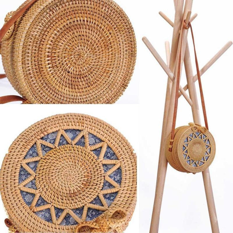 Hand Woven Round Rattan Straw side bag