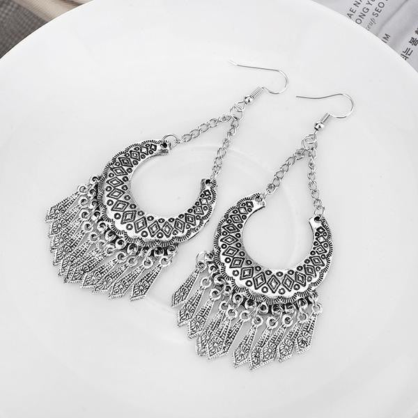 Geometric Drop Tribal Earring